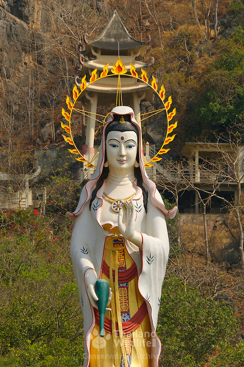 Chinese temple statue at Wat Khao Esaan, at Chao Mae Kuan Im, Don Sai in Ratchaburi province, Thailand