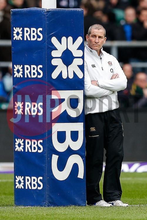 England Head Coach Stuart Lancaster looks on from behind the pad post - Photo mandatory by-line: Rogan Thomson/JMP - 07966 386802 - 14/02/2015 - SPORT - RUGBY UNION - London, England - Twickenham Stadium - England v Italy - 2015 RBS Six Nations Championship.