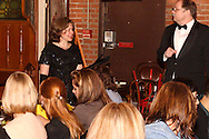"Heather Gorby (left) and J. Gary Thompson during Mayhem & Mystery's production of ""Counterfeit Cliffhanger"" at the Spaghetti Warehouse in downtown Dayton, Monday, May 2, 2011."