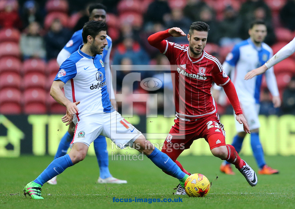 Kike Sola (r) of Middlesbrough and Jordi Gomez of Blackburn Rovers during the Sky Bet Championship match at the Riverside Stadium, Middlesbrough<br /> Picture by Simon Moore/Focus Images Ltd 07807 671782<br /> 06/02/2016