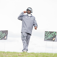 Cody High School Assistant Line Coach Jimmie Knight and the Comets versus Pershing High School on Cody's new football field in Detroit.