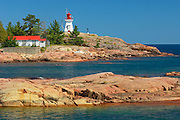 Killarney East Lighthouse on Red Rock Point of  Georgian Bay (Lake Huron). Precambrian shield<br /> Killarney<br /> Ontario<br /> Canada