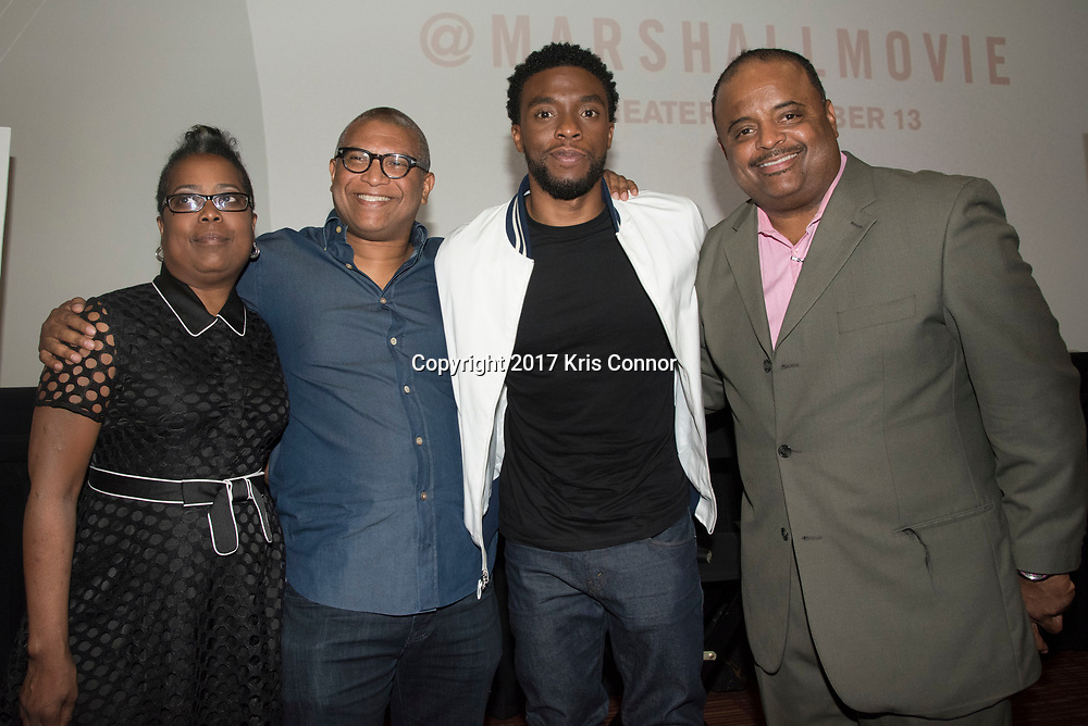 Robin Harrison, Director Reginald Hudlin, Actor Chadwick Boseman, and Roland Martin pose for a photo during a Q&A session after a screening of Open Road Films' new movie MARSHALL at in Baltimore, Md. on July 25th, 2017. (Photo by Kris Connor/Open Road Films)