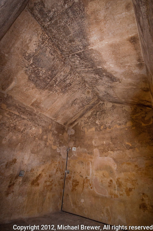 Walls and ceiling of the Queen's Chamber in the Great Pyramid, Giza, Egypt.