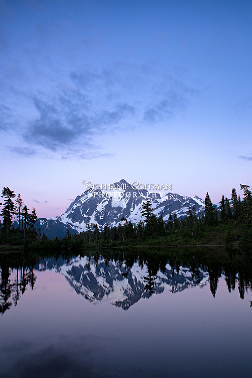Reflections of Mt. Shuksan in Picture Lake in the North Cascade mountain range, Washington, USA