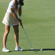 Wake Forest's Erica Herr putts Sunday October 26, 2014 during the 13th annual Landfall Tradition in Wilmington, N.C. (Jason A. Frizzelle)