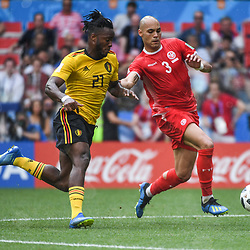 Michy Batshuayi of Belgium and Yohan Benalouane of Tunisia during the FIFA World Cup Group G match between Belgium and Tunisia at Spartak Stadium on June 23, 2018 in Moscow, Russia. (Photo by Anthony Dibon/Icon Sport)