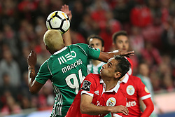 February 3, 2018 - Lisbon, Portugal - Benfica's Brazilian forward Jonas looks on as Rio Ave's defender Marcao heads the ball during the Portuguese League football match SL Benfica vs Rio Ave FC at the Luz stadium in Lisbon on February 3, 2018. (Credit Image: © Pedro Fiuza/NurPhoto via ZUMA Press)