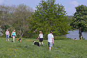 Tourists are staring in a green field with their dogs near Pocklington's Buddhist Centre, Yorkshire, England, United Kingdom.
