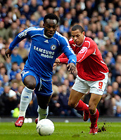 Photo: Ed Godden/Sportsbeat Images.<br /> Chelsea v Nottingham Forest. The FA Cup. 28/01/2007.<br /> Forest's Nathan Tyson (R), approaches Michael Essien.