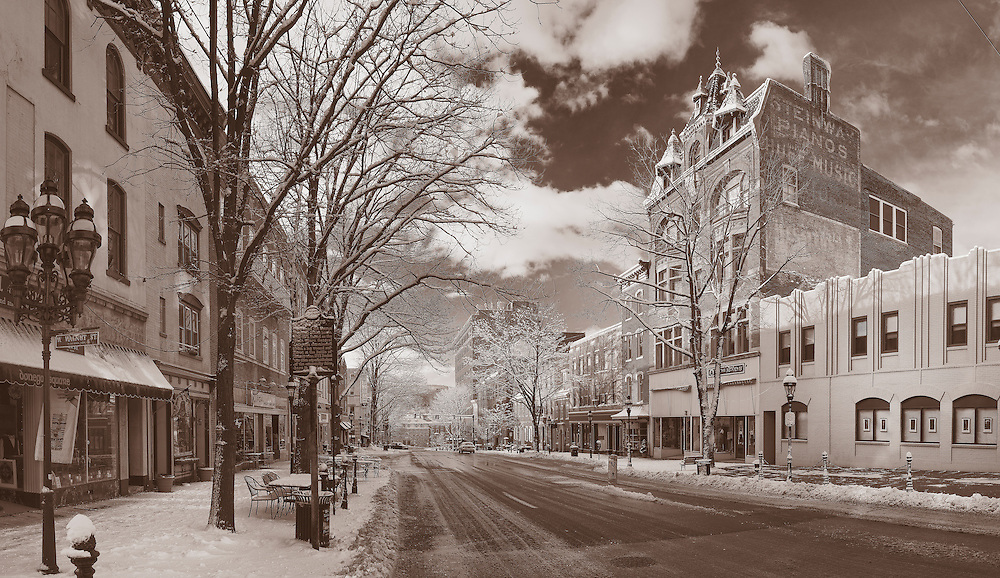 The day after a big snow and Main Street is quiet. Sepia is used in this shot to give the illusion of timelessness. A throwback to the old days.