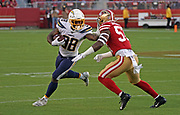 Los Angeles Chargers running back Detrez Newsome (38) runs with the ball while San Francisco linebacker Dre Greenlaw (57) defends, during an NFL football game, Thursday, Aug. 29, 2019, in Santa Clara, Calif. (Dylan Stewart/Image of Sport)