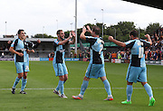Wycombe Wanderers player Garry Thompson celebrates after scoring his second goal from the penalty spot during the Sky Bet League 2 match between Barnet and Wycombe Wanderers at The Hive Stadium, London, England on 15 August 2015. Photo by Bennett Dean.