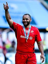 Billy Vunipola of Saracens celebrates after winning in the Premiership Rugby Final against Exeter Chiefs - Mandatory by-line: Robbie Stephenson/JMP - 01/06/2019 - RUGBY - Twickenham Stadium - London, England - Exeter Chiefs v Saracens - Gallagher Premiership Rugby Final