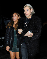 Miquita Oliver and Kyle De'volle attend the Glam Rock Christmas party at The Scotch of St James in London, UK. 11/12/2014<br />BYLINE MUST READ : GOTCHAIMAGES.COM<br /><br />Copyright by © Gotcha Images Ltd. All rights reserved.<br />Usage of this image is conditional upon the acceptance <br />of Gotcha Images Ltd, terms and conditions available at<br />www.gotchaimages.com