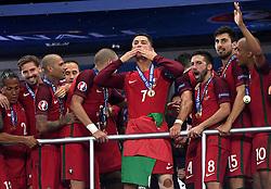 Cristiano Ronaldo of Portugal greats the fans  - Mandatory by-line: Joe Meredith/JMP - 10/07/2016 - FOOTBALL - Stade de France - Saint-Denis, France - Portugal v France - UEFA European Championship Final