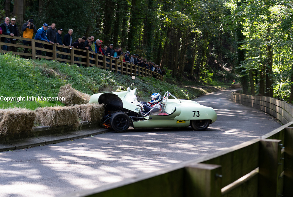 Boness Revival hillclimb motorsport event in Boness, Scotland, UK. The 2019 Bo'ness Revival Classic and Hillclimb, Scotland's first purpose-built motorsport venue, it marked 60 years since double Formula 1 World Champion Jim Clark competed here.  It took place Saturday 31 August and Sunday 1 September 2019. 73 David Gidden. Lotus 23. Accident