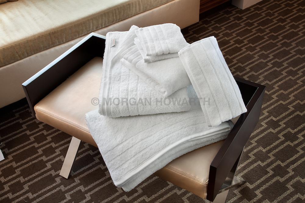 Marriott Hotel room side table with bath towel sets Monogram