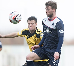 Livingston Calum Fordyce and Falkirk's Rory Loy.<br /> half time : Falkirk 0 v 1 Livingston, Scottish Championship game today at The Falkirk Stadium.<br /> &copy; Michael Schofield.