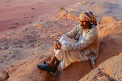 A Syrian camel driver named Ibraham in the Jordanian desert of Wadi Rum