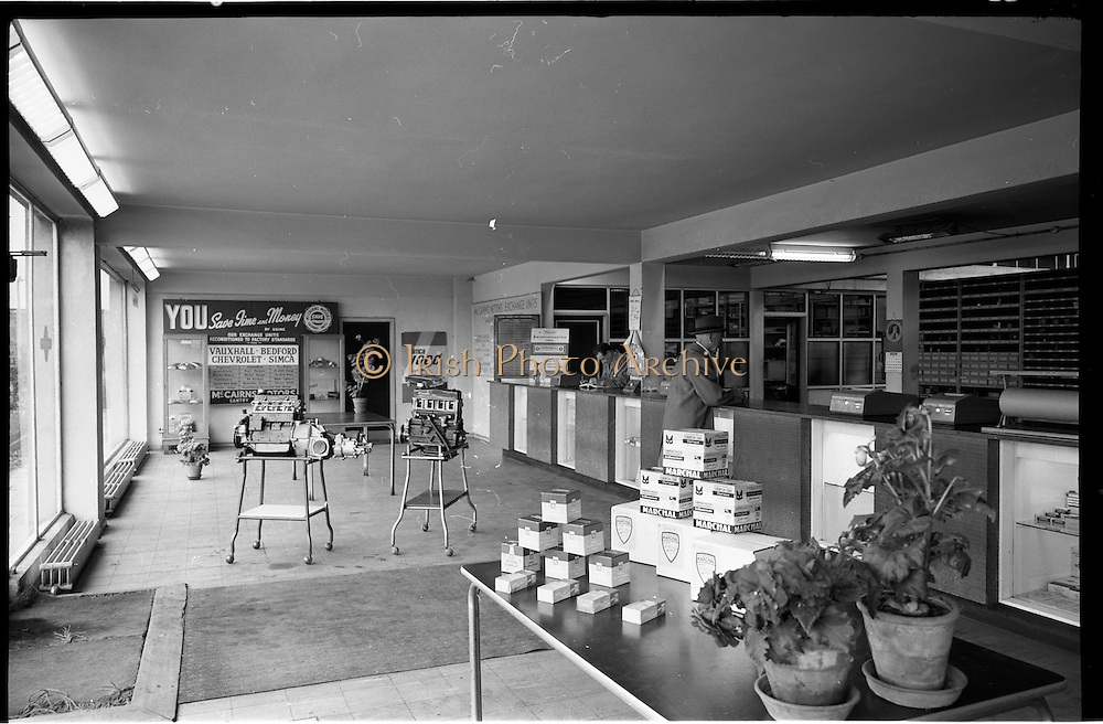 06/09/1962<br /> 09/06/1962<br /> 06 September 1962<br /> Spare parts shop at McCairns Motors Ltd., Santry, Dublin.
