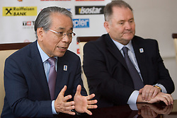 IIHF Vice president Shoichi Tomita (JPN) and president of HZS Ernest Nestl Aljancic at press conference of Slovenian National team before Ice-Hockey World Championships Division I Ljubljana 2010, on April 16, 2010, in Hall Tivoli, Ljubljana, Slovenia.  (Photo by Vid Ponikvar / Sportida)