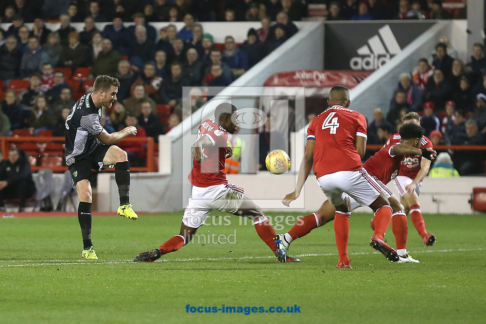 Marley Watkins of Norwich has a shot on goal during the Sky Bet Championship match at the City Ground, Nottingham<br /> Picture by Paul Chesterton/Focus Images Ltd +44 7904 640267<br /> 21/11/2017
