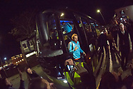 9th November 2017, Pittodrie Stadium, Aberdeen, Scotland; International Football Friendly, Scotland versus Netherlands; Manchester United and Holland's Daley Blind exits the team bus as the Netherlands' national team arrive at Pittodrie