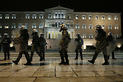 Riot police officers guard the Greek Parliament during a protest march by leftist groups to mark the 8th anniversary of the murder of Alexandros Grigoropoulos who was shot dead by police officer Epaminondas Korkoneas in 2008. Athens, Greece, December 6, 2016. Photo by Panayotis Tzamaros/ABACAPRESS.COM