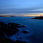 Looking towards St Ives from Godrevy after sunset.