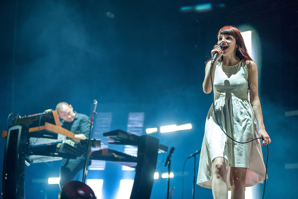 CHVRCHES in concert at The SSE Hydro, Glasgow, Scotland, Britain, 2nd April 2016