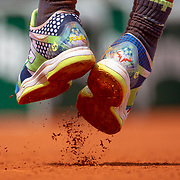 PARIS, FRANCE May 29. The feet of Rafael Nadal of Spain while serving against Yannick Maden of Germany on Court Suzanne Lenglen in the Men's Singles second round match at the 2019 French Open Tennis Tournament at Roland Garros on May 29th 2019 in Paris, France. (Photo by Tim Clayton/Corbis via Getty Images)