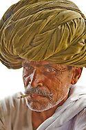 India - Rajasthani Man in Green Turban