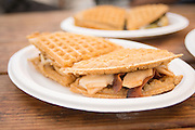 The Smaaken food cart servest a wide variety of creative waffle sandwiches.