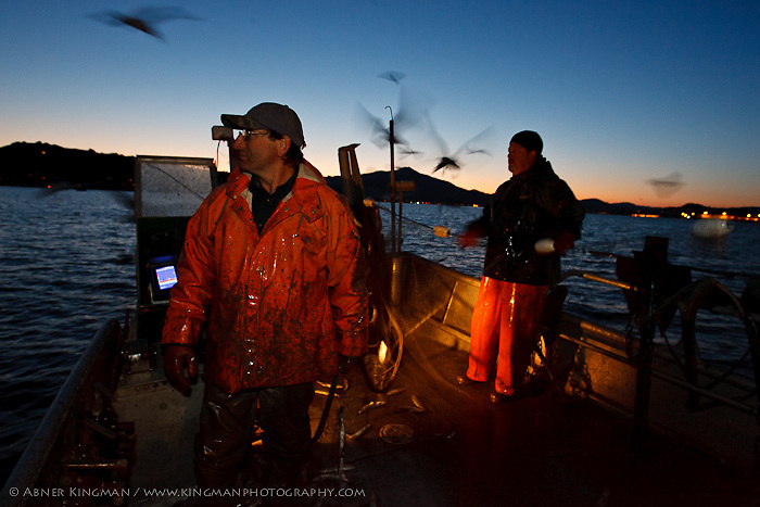 Dominic Papetti and Ron Love herring fishing in San Francisco Bay