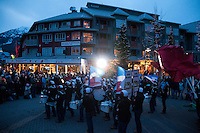 A drum band from Sardis, BC plays to a crowd in the Town Plaza during the 2010 Olympic Winter games in Whistler, BC Canada.