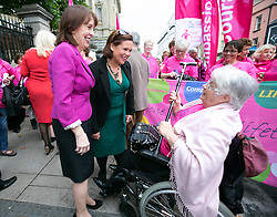 Repro Free: 30/09/2014<br /> R&oacute;is&iacute;n Shortall T.D. and Mary Lou McDonald TD speaking to 72 year old Margaret Hayden from Longford as the Irish Cancer Society joined by cancer campaigners from across Ireland as they submit a petition to Government, calling on the Minister for Health to take action and include extending the breast cancer screening programme for women aged 65-69 in the HSE&rsquo;s Services Plan for 2015. The Government said the extension of BreastCheck would take place during 2014 but then made a decision to defer it. At least eighty-seven lives are being lost to breast cancers every year due to the delay in screening the upper age group of women.  Picture Andres Poveda