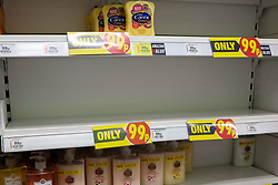 © Licensed to London News Pictures. 05/03/2020. London, UK. Savers store in London runs out of hand wash amid an increased number of cases of Coronavirus (COVID-19) in the UK. Three more cases were confirmed in Scotland this morning, taking the UK total to ninety. Photo credit: Dinendra Haria/LNP
