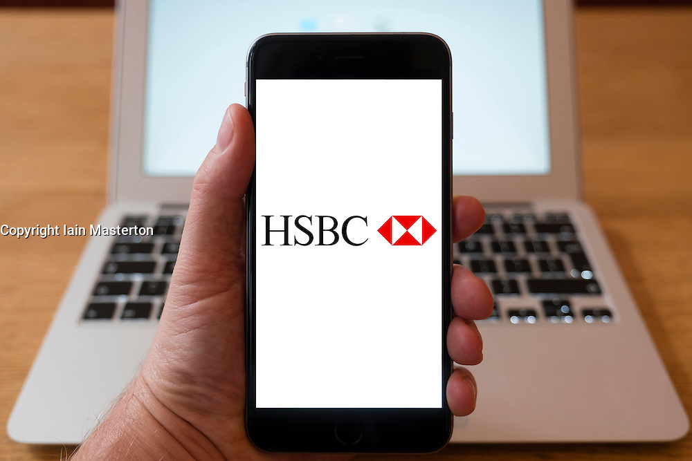 Using iPhone smartphone to display logo of HSBC bank