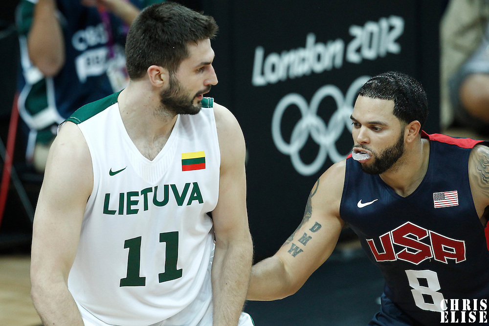 04 August 2012: USA Deron Williams defends on Lithuania Linas Kleiza during 99-94 Team USA victory over Team Lithuania, during the men's basketball preliminary, at the Basketball Arena, in London, Great Britain.