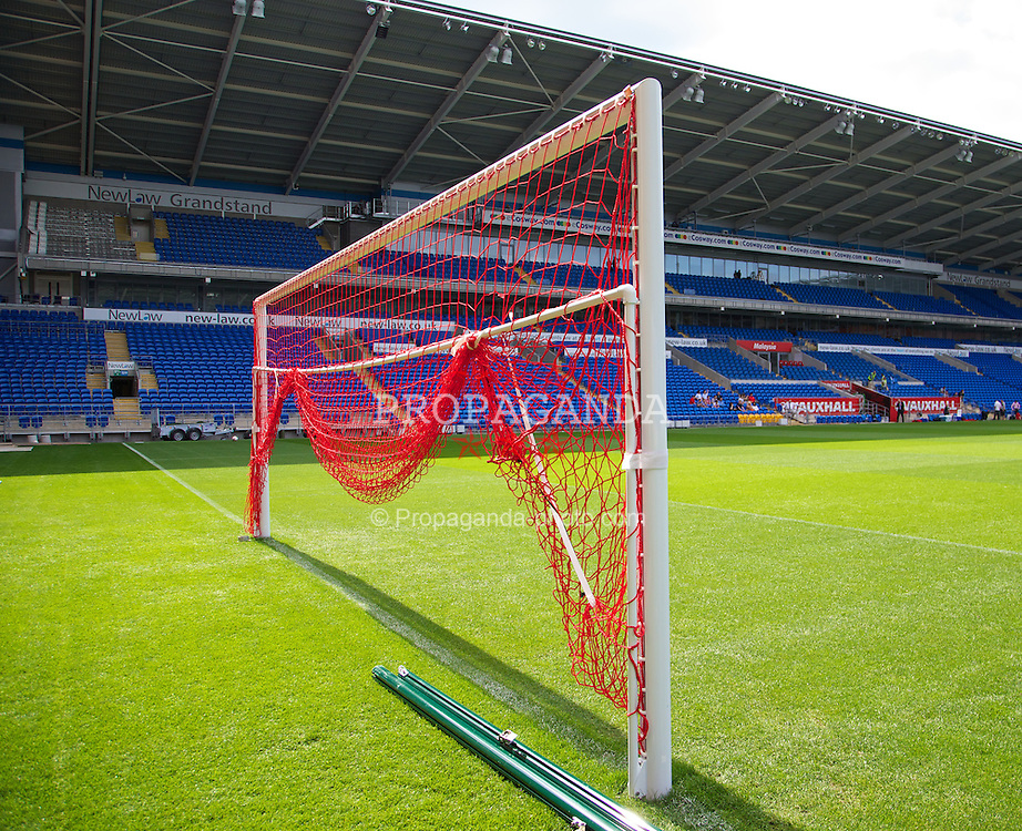 CARDIFF, WALES - Tuesday, August 13, 2013: Red goal nets during a training session at the Cardiff City Stadium ahead of the International Friendly match against the Republic of Ireland. (Pic by David Rawcliffe/Propaganda)