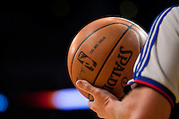 09 November 2008: An NBA official holds the official NBA Spalding basketball during the Lakers 111-82 victory over the Rockets at the STAPLES Center in Los Angeles, CA.