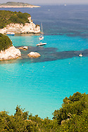 A view of the northeast coast of Anti-Paxos from a taverna above<br /> Voutoumi Beach.  Anti-Paxos,  Ionian Islands, Greece