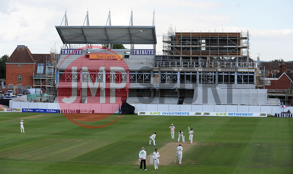 General view of the New Pavilion currently under construction at The County Ground. - Photo mandatory by-line: Harry Trump/JMP - Mobile: 07966 386802 - 15/06/15 - SPORT - CRICKET - LVCC County Championship - Division One - Day Two - Somerset v Nottinghamshire - The County Ground, Taunton, England.