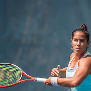 August 20, 2016, New Haven, Connecticut: <br /> Sanaz Marand in action during a US Open National Playoffs match at the 2016 Connecticut Open at the Yale University Tennis Center on Saturday, August  20, 2016 in New Haven, Connecticut. <br /> (Photo by Billie Weiss/Connecticut Open)