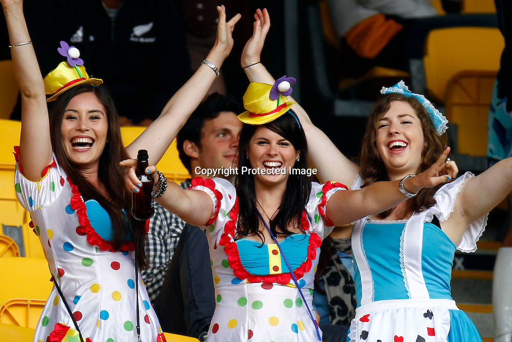 Costumed fans. Hertz Wellington Sevens - Day two at Westpac Stadium, Wellington, New Zealand on Saturday, 4 February 2012. Photo: Ella Brockelsby / photosport.co.nz
