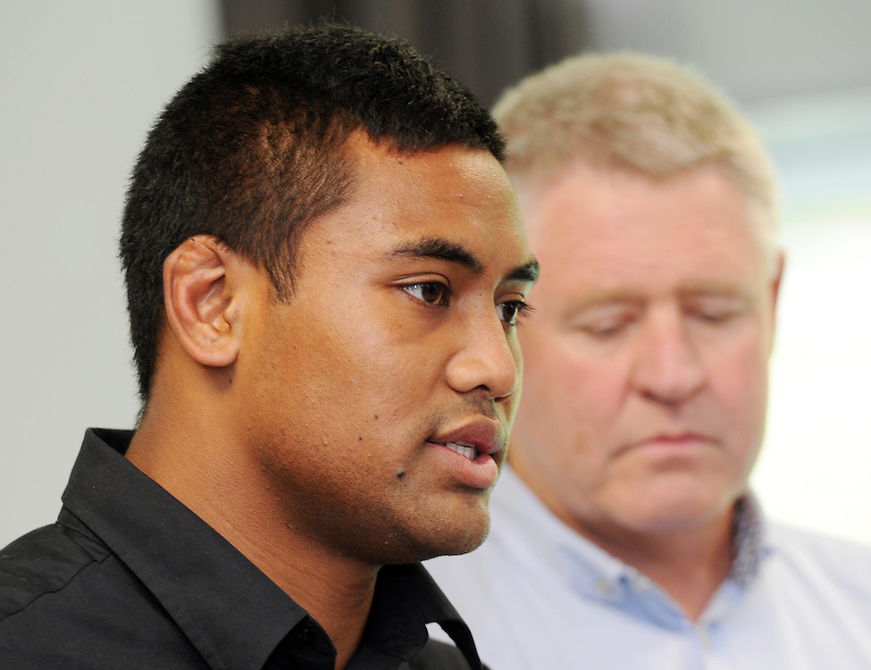 Rugby All Black Julian Savea, left, with NZRU CEO Steve Tew at a press conference following the laying of assault charges against Savea, Rugby League Park, Wellington, New Zealand, Sunday, April 21, 2013. Credit:SNPA / Ross Setford