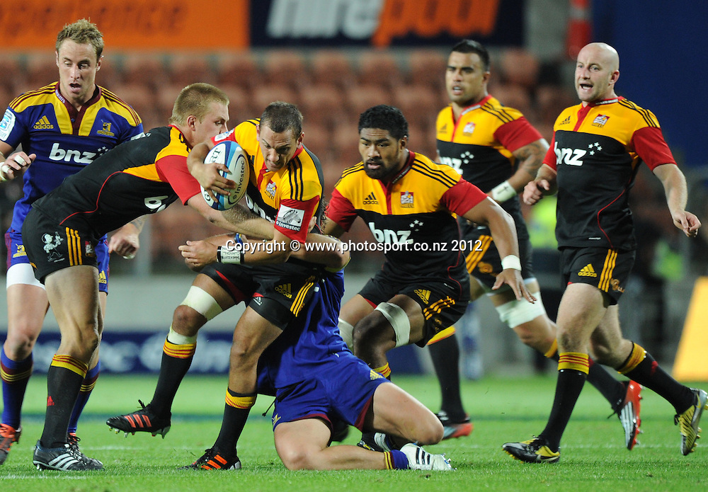 Aaron Cruden during the 2012 Super Rugby season, Chiefs v Highlanders match at Waikato Stadium, New Zealand. Saturday 25 February 2012. Photo: Andrew Cornaga/Photosport.co.nz