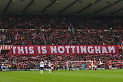 A Nottingham Forest flag during the EFL Sky Bet Championship match between Nottingham Forest and Derby County at the City Ground, Nottingham, England on 9 November 2019.
