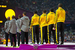 11.08.2012, Olympia Stadion, London, GBR, Olympia 2012, 4 x 100m Staffel, Herren, Podium, im Bild ilber medaille für Team USA, Trell Kimmons (USA), Justin Gatlin (USA), Tyson Gay (USA), Ryan Bailey (USA) , Gold medaille für Team Jamaica, Nesta Carter (JAM), Michael Frater (JAM), Yohan Blake (JAM), Usain Bolt (JAM) // silver medal für Team USA, Trell Kimmons (USA), Justin Gatlin (USA), Tyson Gay (USA), Ryan Bailey (USA), Gold medal Team Jameica, Nesta Carter (JAM), Michael Frater (JAM), Yohan Blake (JAM), Usain Bolt (JAM) during Men's 4 x 100m Relay Podium at the 2012 Summer Olympics at Olympic Stadium, London, United Kingdom on 2012/08/11. EXPA Pictures © 2012, PhotoCredit: EXPA/ Johann Groder